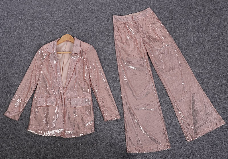 Femmes Collar Shorts gray 2019 Costume Sequin Mode Printemps Turn Nouveau Pocktes eam down Tops Oa830 Champers Hiver Manches Cordon Pleine Marée 6IPAcf