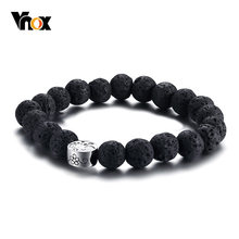 Vnox Best Mom Flower Charm Brcelets for Women Stainless Steel Power Lava Stones Beads Female Pulseira Best Mother Gift(China)