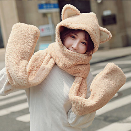 Children Corgi Animal Hat Hood Scarf Corgi Hats Caps Winter Warm Plush Earmuff Beanies Helmet Mittens Hooded For Kids Child Novelty & Special Use