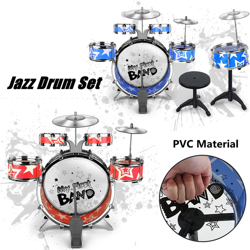 Plastic Metal Kids Junior Drum Kit Music Set Drums Kit Percussion Musical Instrument Six drum Belt Stool Red BluePlastic Metal Kids Junior Drum Kit Music Set Drums Kit Percussion Musical Instrument Six drum Belt Stool Red Blue