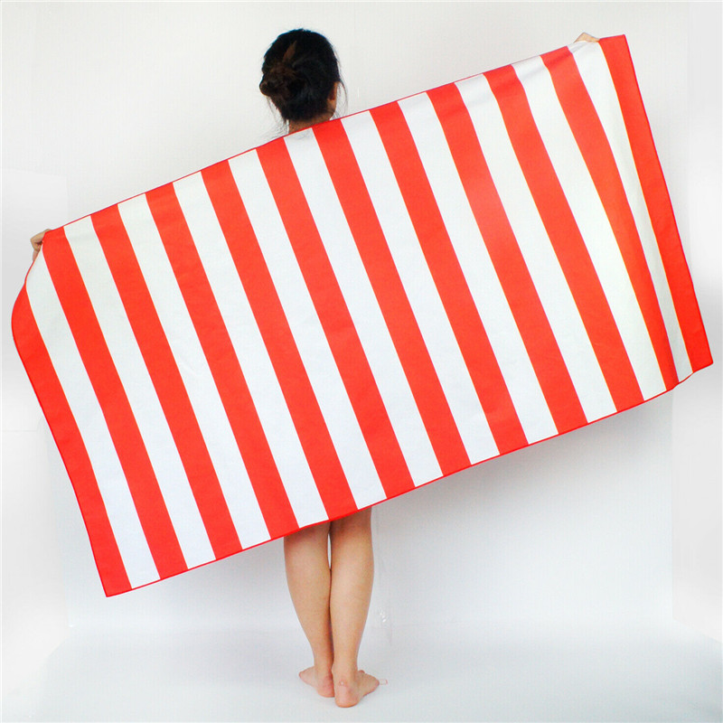 Quick Dry Beach Towel Striped Extra Large Microfibre