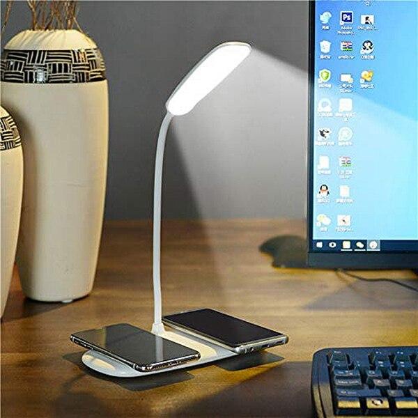 Led Bureaulamp Met 2 Draadloze Snelle Opladen Standaard Kosten Voor Telefoon Xs/X/8/8 Plus /Ne Xus/X Peria Gaiaxy Note 9/S9/S9 +/S8/S8