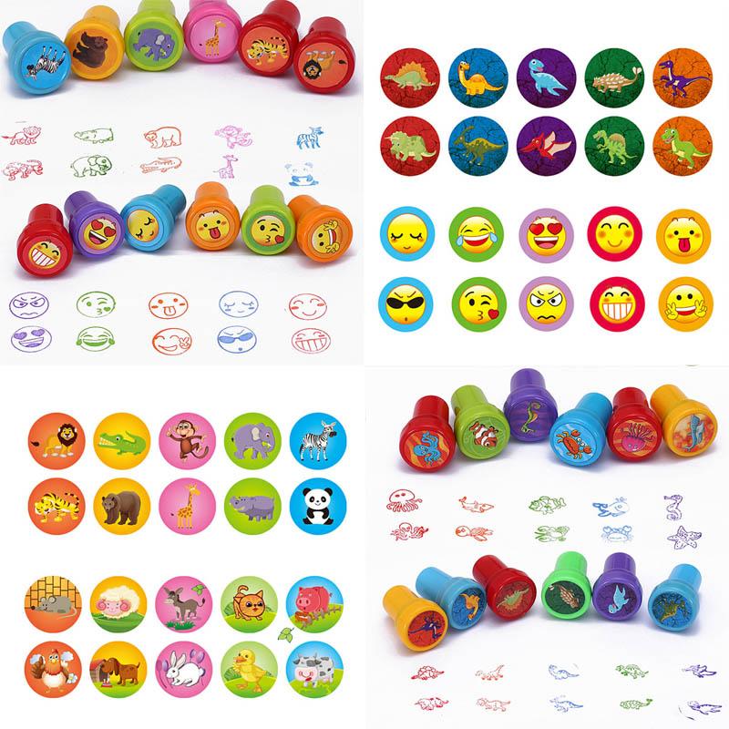 10pcs/Box Children Toy Rubber Stamps Cartoon Animals Fruits Vegetable Kids Seal DIY Scrapbook Photo Album Decor Stamper
