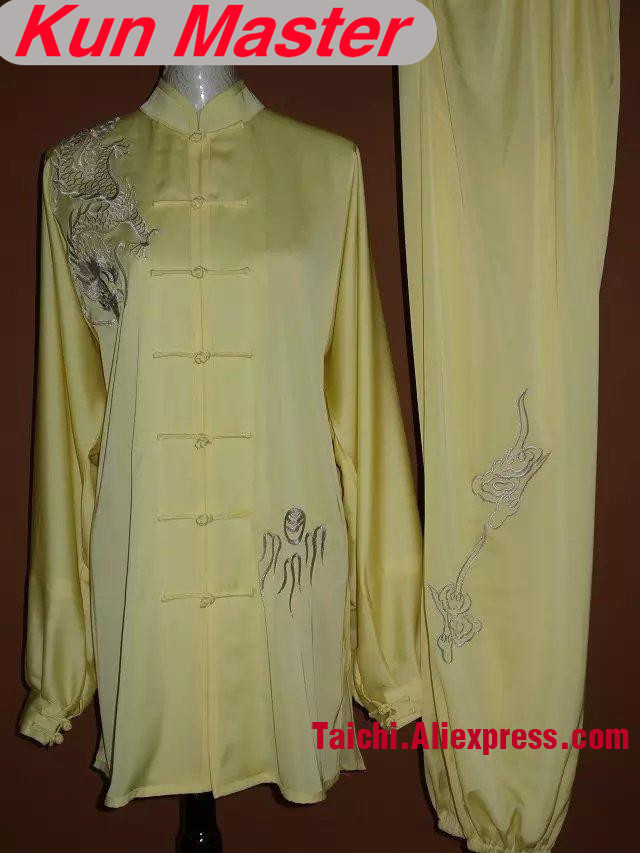 Man Custom Tai Chi Performance Uniform Dragon Embroidery  Martial Art Clothing For Kung Fu Note Your Height And Weight Yellow