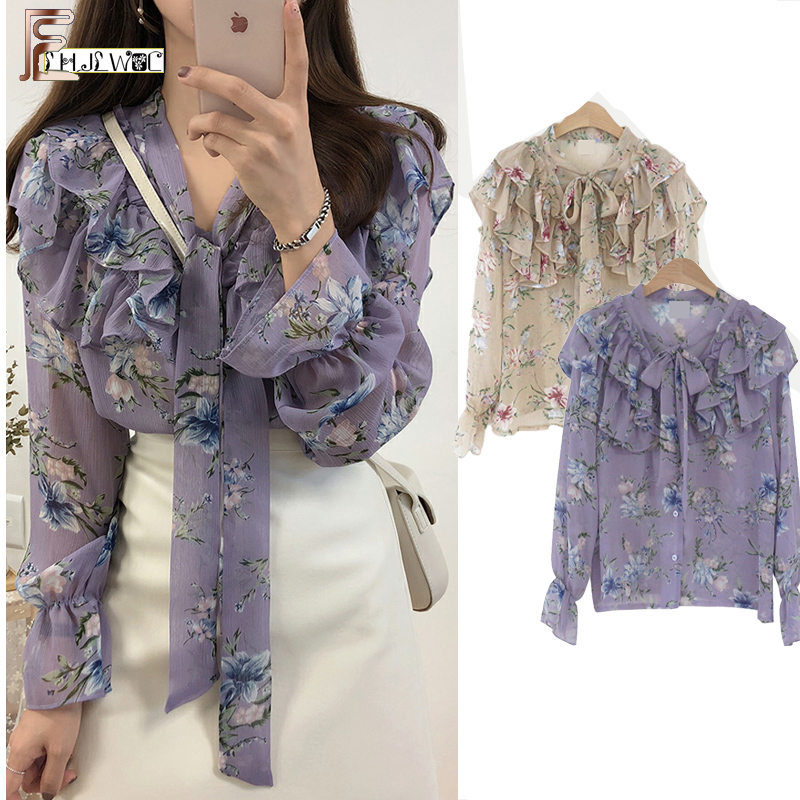 2019 Cute Sweet Bow Tie Tops Hot Sales Women Korean Style Bow Blouses Shirts Female Girls Purple Floral Vintage Top Blouse 2021