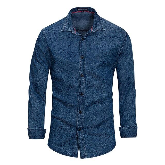 release date 5811d 634ee Europäische größe männer revers hemd Casual Denim stil Gewaschen herren  Langarm Shirts 100% baumwolle casual shirts