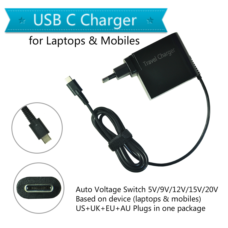 20 V 3.25A 65 W universel USB type C ordinateur portable téléphone portable adaptateur secteur chargeur pour Lenovo Asus HP Dell Xiaomi Huawei Google 4 Plug