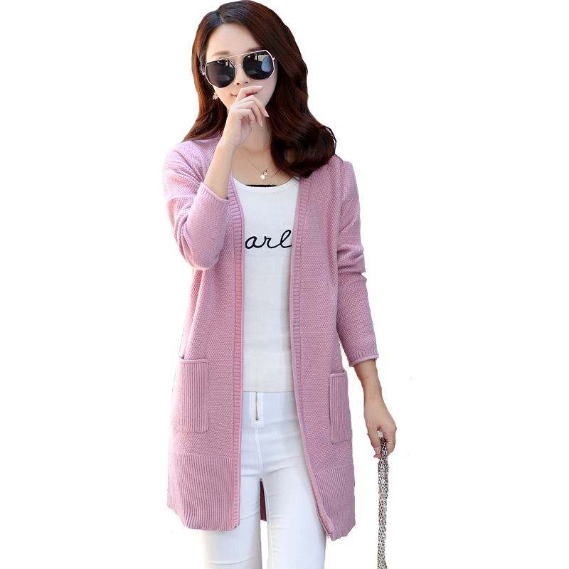 PEONFLY  Autumn Knitting Cardigan Women Spring Sweater Sections And Long V-Neck Full Sleeve Wool Slim Tight Bottoming