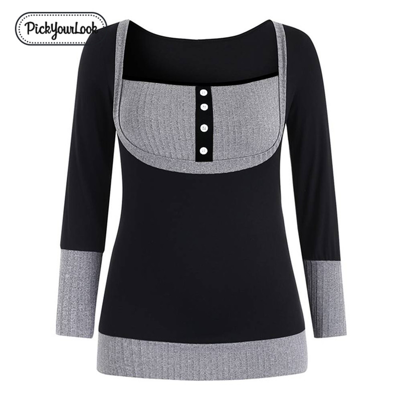 Women Thick Blouses Long Sleeve Autumn Winter Female Tops Shirt Patchwork Button Casual Ladies Blouses Chemise Big D30 in Blouses amp Shirts from Women 39 s Clothing