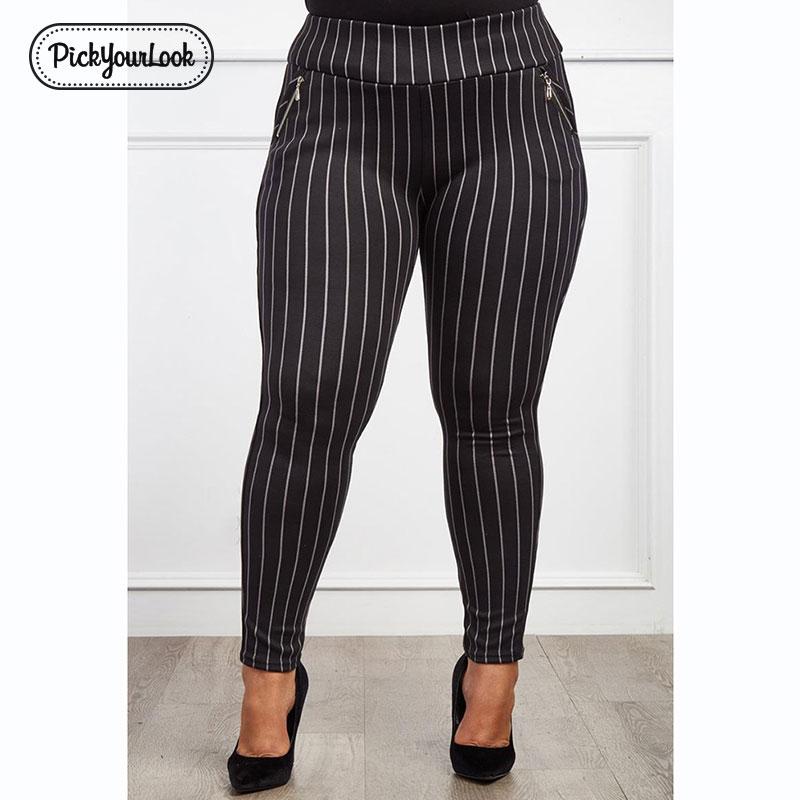 Pickyourlook Pants Black White Plus-Size Women Leggings Skinny Striped Female Fashion