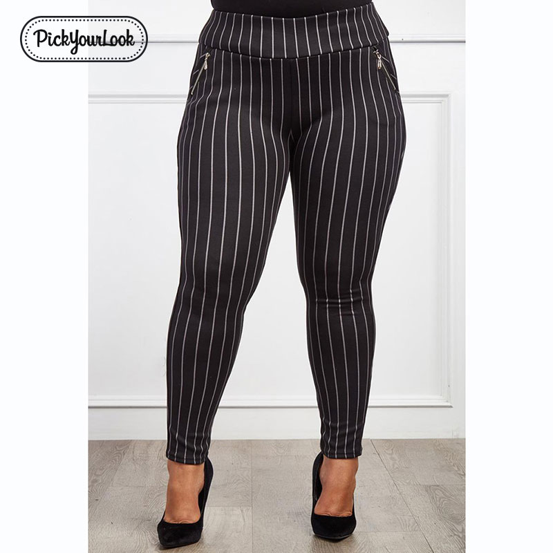 Pickyourlook Women Leggings Plus Size Striped Fashion Elastic Female Legging Pants Large Size Skinny Black White Zipper Pants