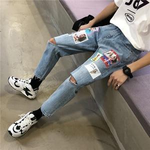 Image 2 - 2019 printemps et été nouvelle mode tendance Version coréenne du Couple décontracté trou impression neuf Points sport jean Hip Hop meilleur