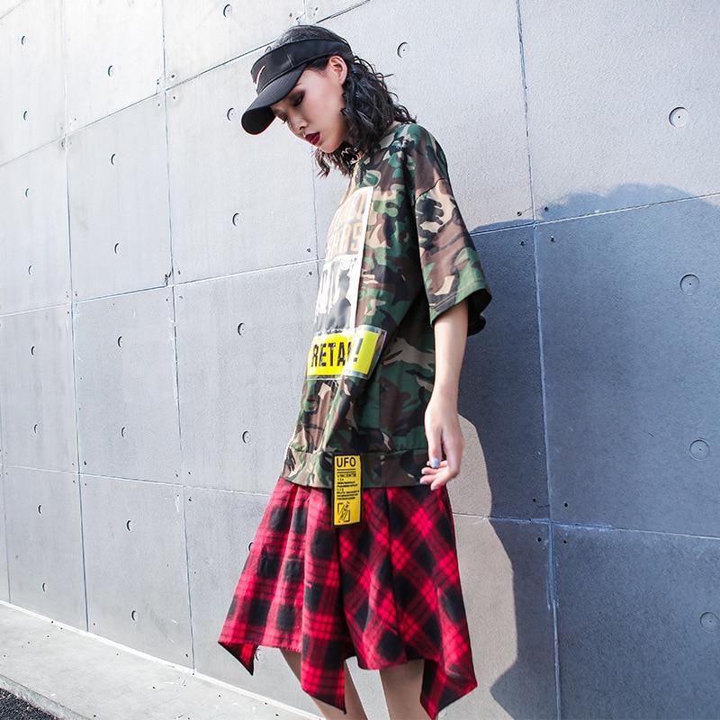 Women Camouflage Dress Women Plaid Patchwork Dress Women Casual Style Mid calf Dress 2019 Summer Fashion
