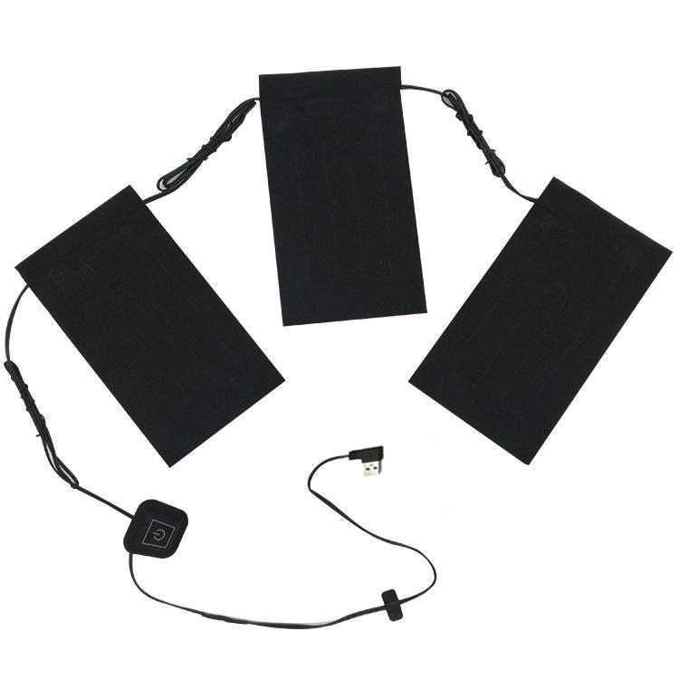 Mounchain 5V Electric Vest Heated Cloth Hiking Jacket USB Thermal Warm Heated Pad 3 Pcs /set 35-50 C Winter Body Warmer No Cloth