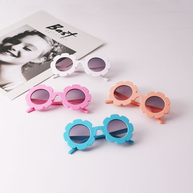 Hot Sun Flower Round Cute kids sunglasses UV400 for Boy girl Lovely baby glasses Children Oculos de sol N554