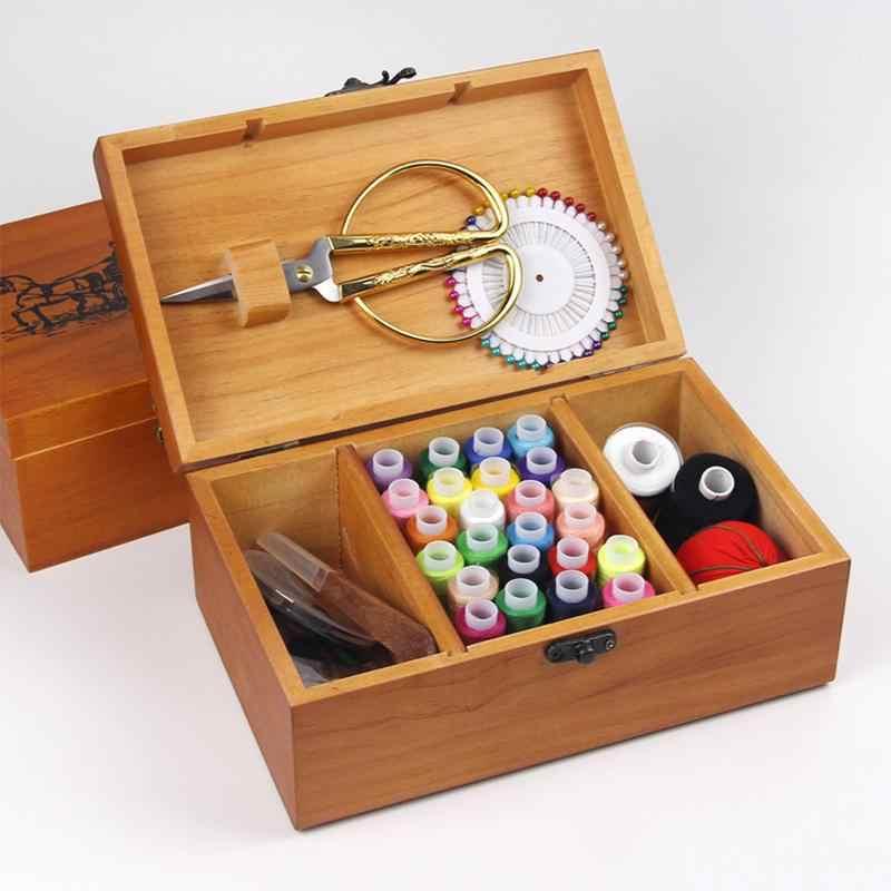 Многофункциональный деревянный швейный ящик ножницы иглы и нитки коробка для хранения для домашнего хранения Организации