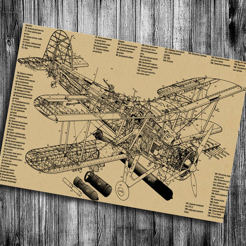 Hot sale Retro Wall Vintage craft Paper Aircraft parts decomposition vintage cafe bar pub poster Sticker painting free ship