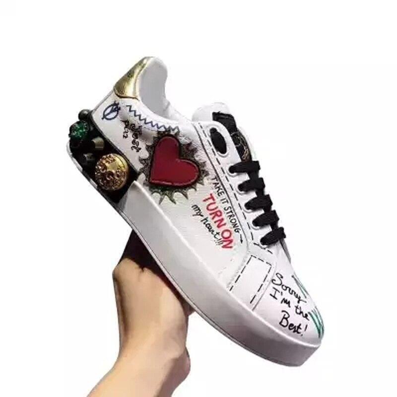 Chaussures Mocassins En De Casual Amour Designer Couverture Graffiti Luxe Plates White Simples Cuir Véritable Femmes Pieds awTdSIq