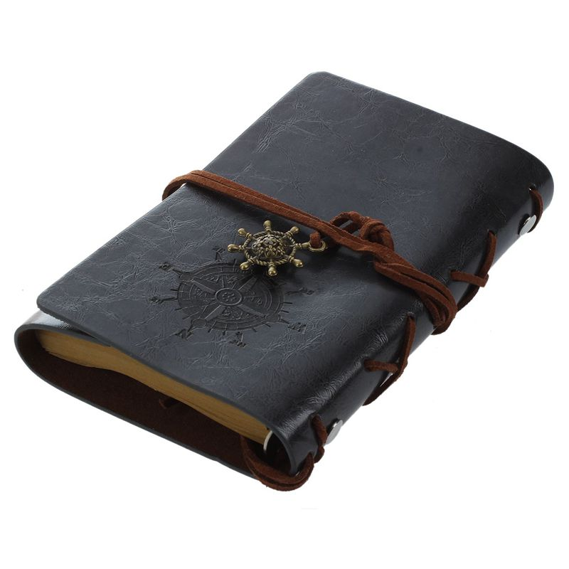 Retro Vintage Leather Bound Blank Pages Journal Diary Notepad Notebook (Black) S