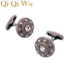 2018 Low-key Luxury Copper Cufflinks for Mens Brand High Quality Vintage  Crystal Cufflinks Shirt 17e860b986ea