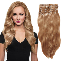 YONNA 100% Brazilian Clip In Human Hair extensions Long soft straight full head