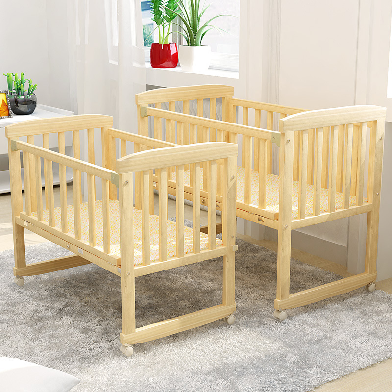 2 In 1 Baby  Sleep Crib Baby Bed Cradle Can Change To Desk Rocking Chair Balance Bed 0-2 Year Big Size Nature Wood Frame