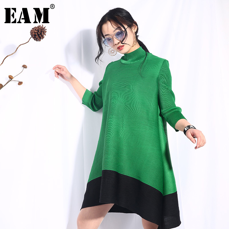 EAM 2019 New Spring Summer Stand Collar Long Sleeve Hit Color Stitch Loose Pleated Big