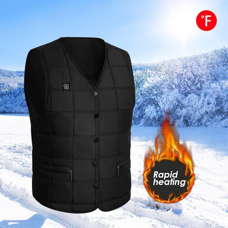 Electric Vest V-Neck Usb Charging Warm Men Women Adjustable Temperature Heated Clothing Electric Battery Powered Hiking Vest round neck stitching crochet lace vest
