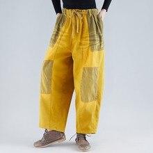プラスサイズワイド脚パンツ女性弾性ウエスト暖かいデニムズボン厚みフリースヒップホップストリート巾着クロスパンツ