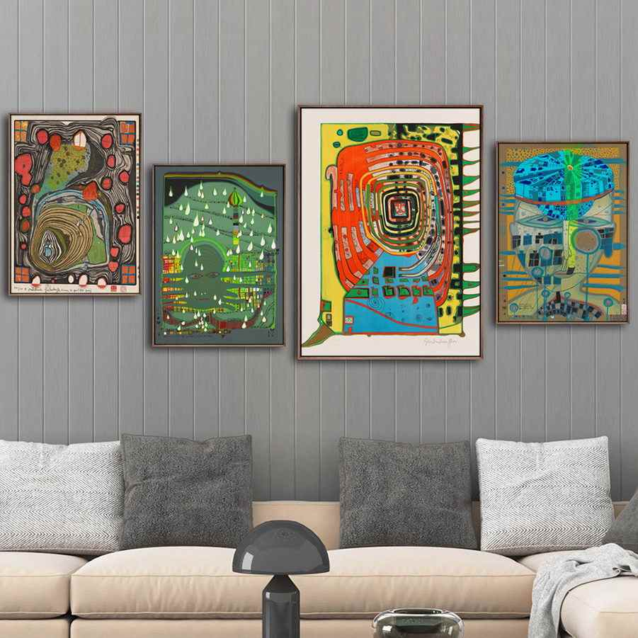 Home Decoration Poster Prints Wall Art Canvas Painting  Picture Wall Friedensreich Hundertwasser Austrian Abstract