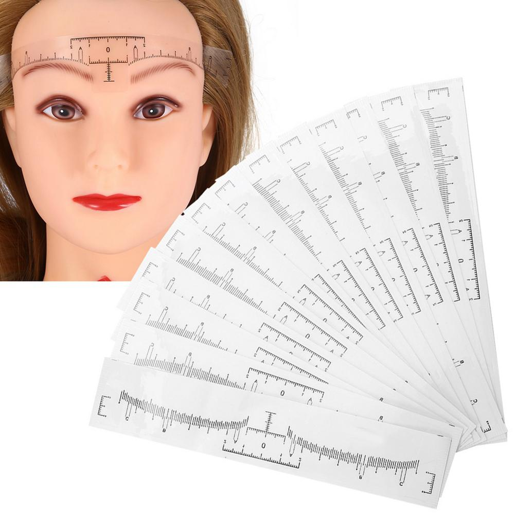 100pcs Disposable Eyebrow Ruler Sticker Eyebrow Shaping Tools Makeup Measurement Stencil Makeup Drawing Template