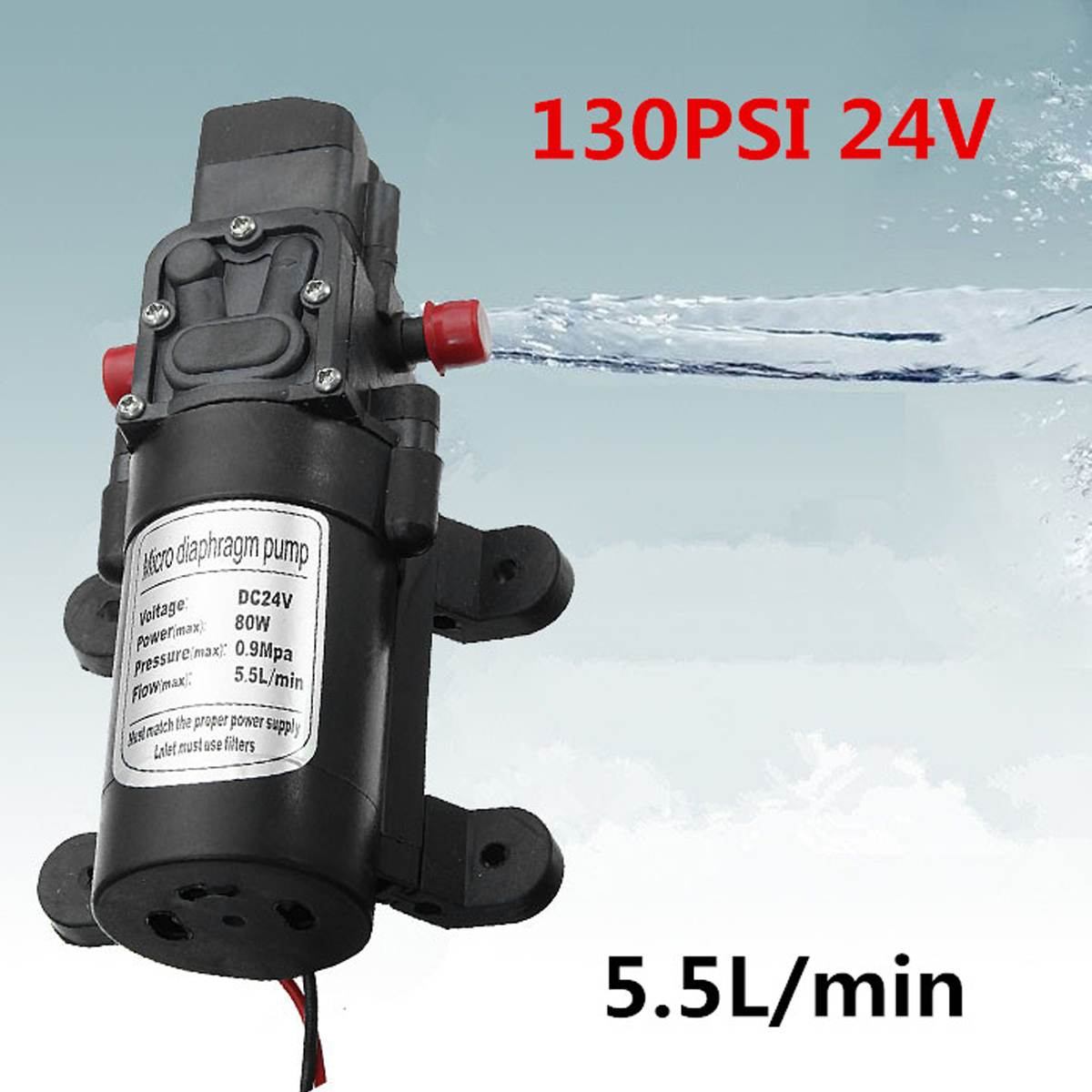 80W DC 24V 130PSI Water High Pressure Diaphragm Self Priming Pump For Garden Sprinkler ShowerCaravan Boat80W DC 24V 130PSI Water High Pressure Diaphragm Self Priming Pump For Garden Sprinkler ShowerCaravan Boat