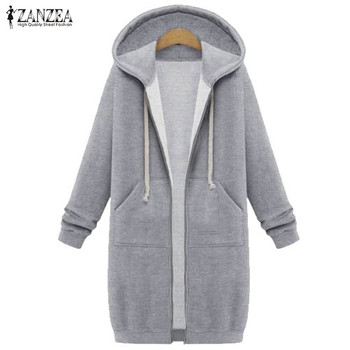 גדול 2019 סתיו ZANZEA נשים מקרית ארוך נים סווטשירט מעיל כיסי Zip עד הלבשה עליונה ברדס מעיל בתוספת גודל חולצות