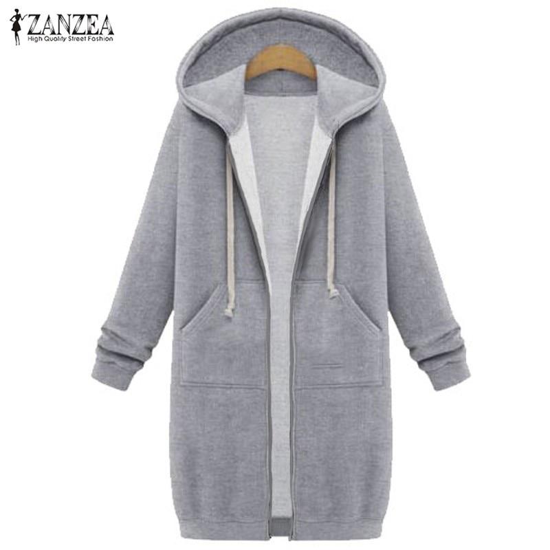3ca60acf8 US $16.57 36% OFF Oversized 2019 Autumn ZANZEA Women Casual Long Hoodies  Sweatshirt Coat Pockets Zip Up Outerwear Hooded Jacket Plus Size Tops-in ...