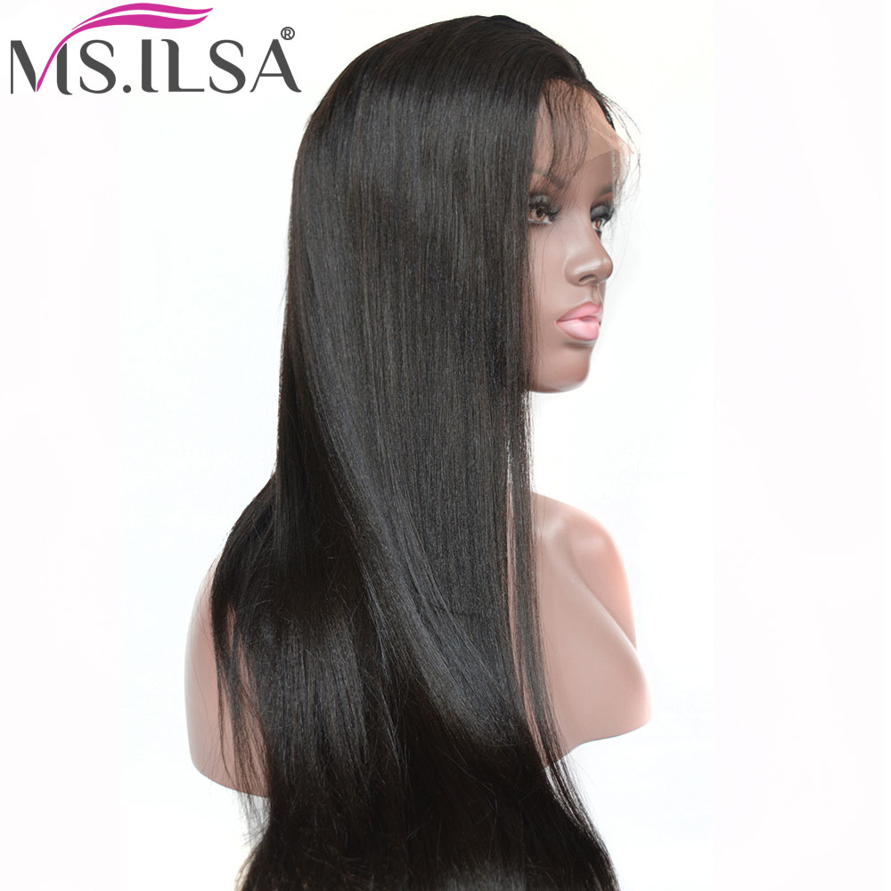 Lace Front Human Hair Wigs For Black Women Light Yaki Straight Remy Hair 250 Density Lace Wig With Baby Hair Pre Plucked MS.ILSA