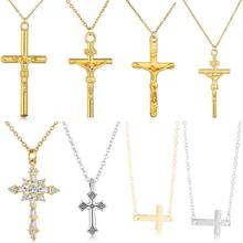 Unisex Trendy Cross Necklace Double Side Gold Silver Rhinestone Cross Pendant Gold Jesus Necklaces&Pendants Lucky Jewelry Gift(China)