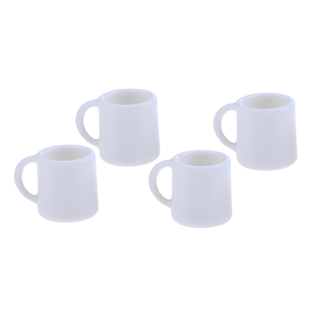 Set Of 4 Pieces 1/12 Scale Miniature White Plastic Milk Tea Coffee Wine Cups Mugs Tableware For Dolls House Accessory