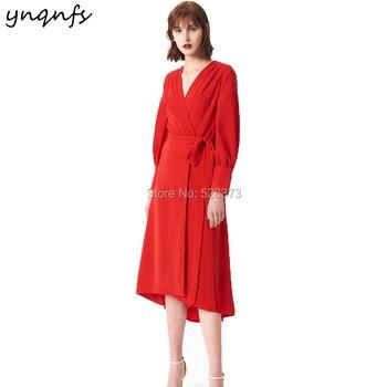 ee2415b227 YNQNFS M133 Italia de cuello en V de manga larga rojo vestidos para la madre  de la novia traje de cóctel Vestido de fiesta de boda