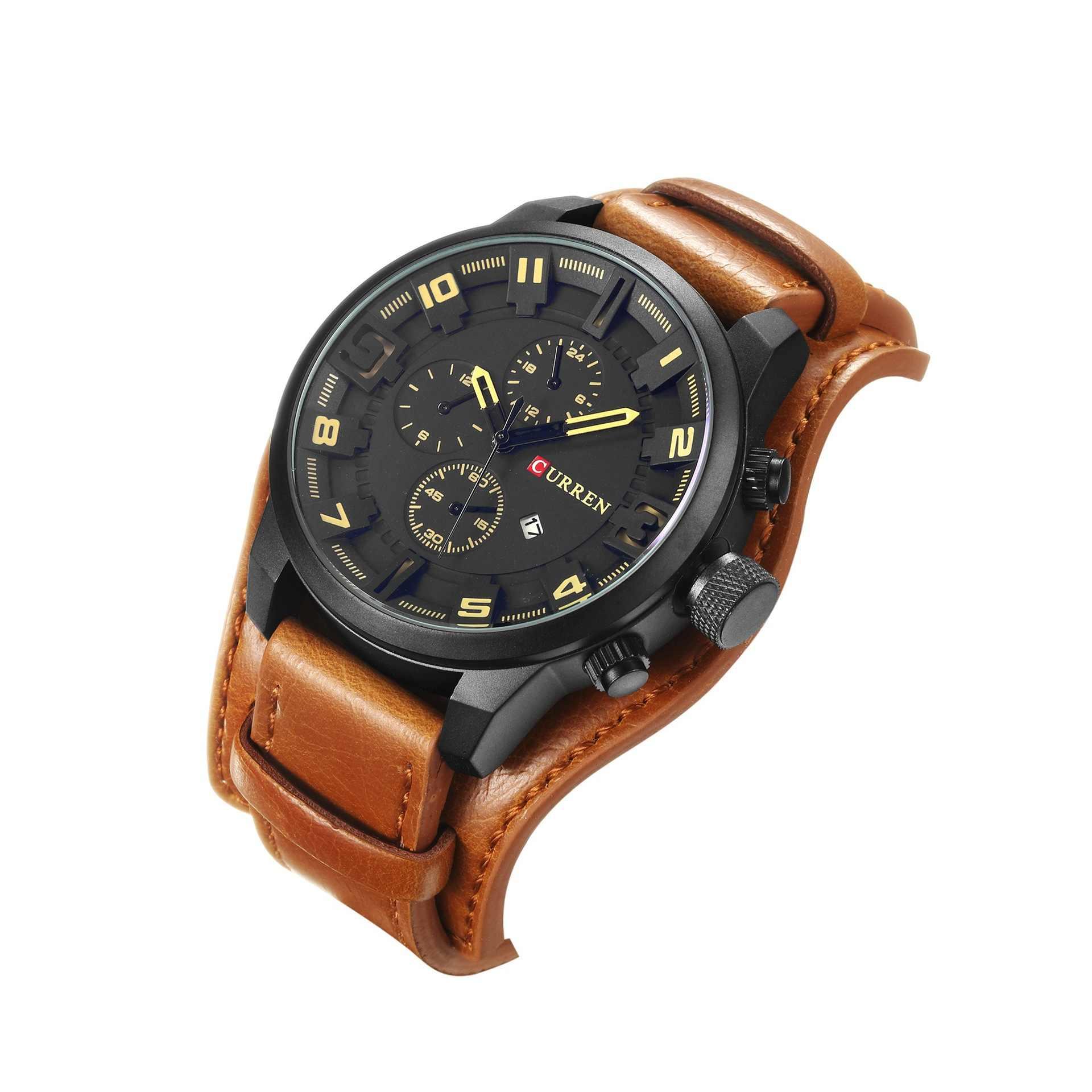 Curren luxury luxury ยี่ห้อ Quartz ผู้ชายนาฬิกาปฏิทินแฟชั่นกีฬาหนังนาฬิกาข้อมือ relogio masculino