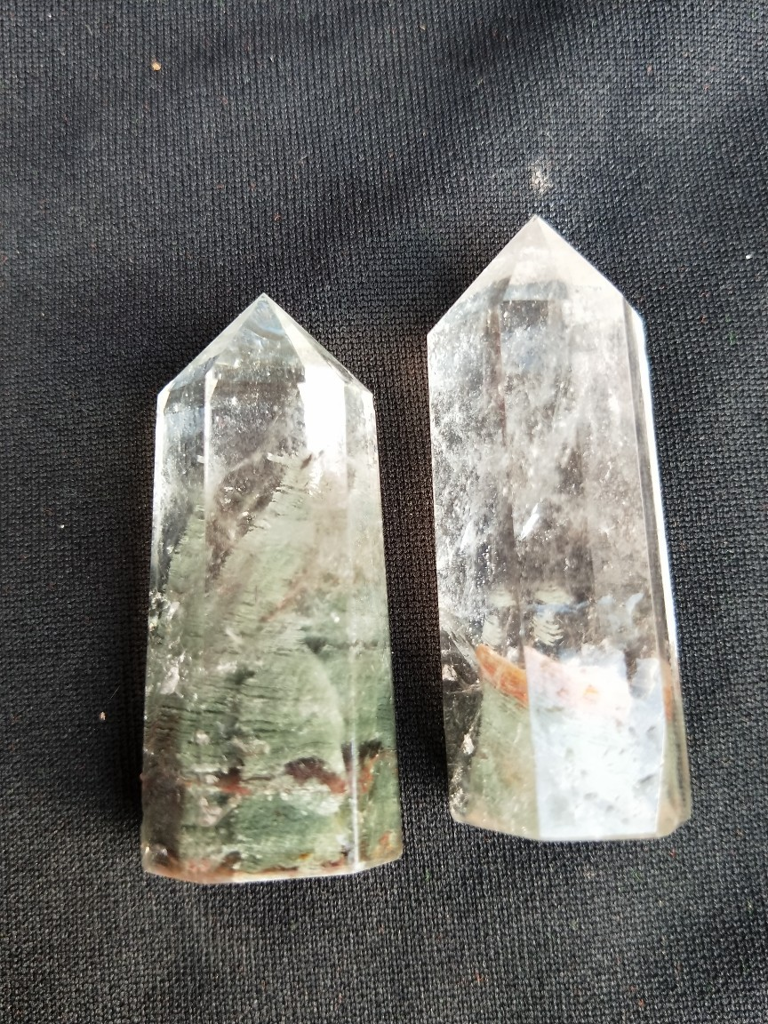 Natural white crystal green ghost six prisms decoration ornaments degaussing energy in Stones from Home Garden