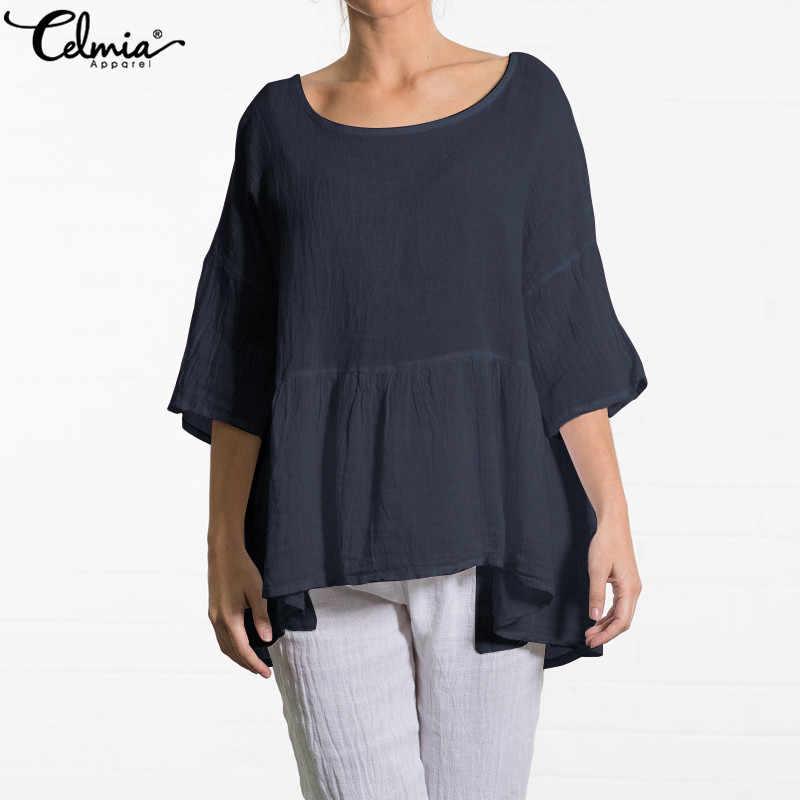 Лето 2019, винтажные женские льняные блузки, повседневные свободные Туники Топы, плиссированные рубашки с оборками, мешковатые блузы, женские блузки 5XL