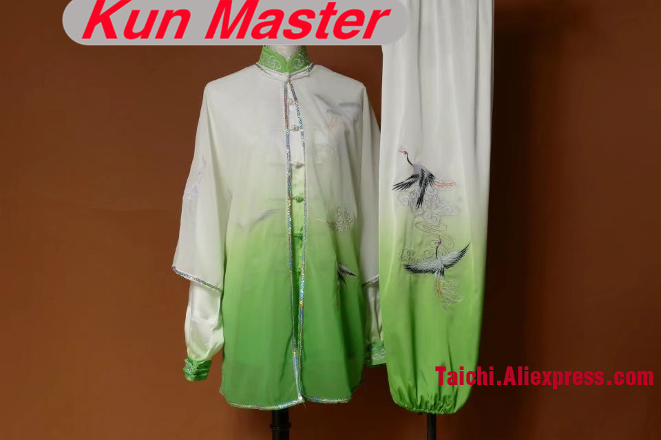 Custom Tai Chi Performance Uniform Crane Embroidery White Green Gradual Change Color  Martial Art Clothing Three Pieces