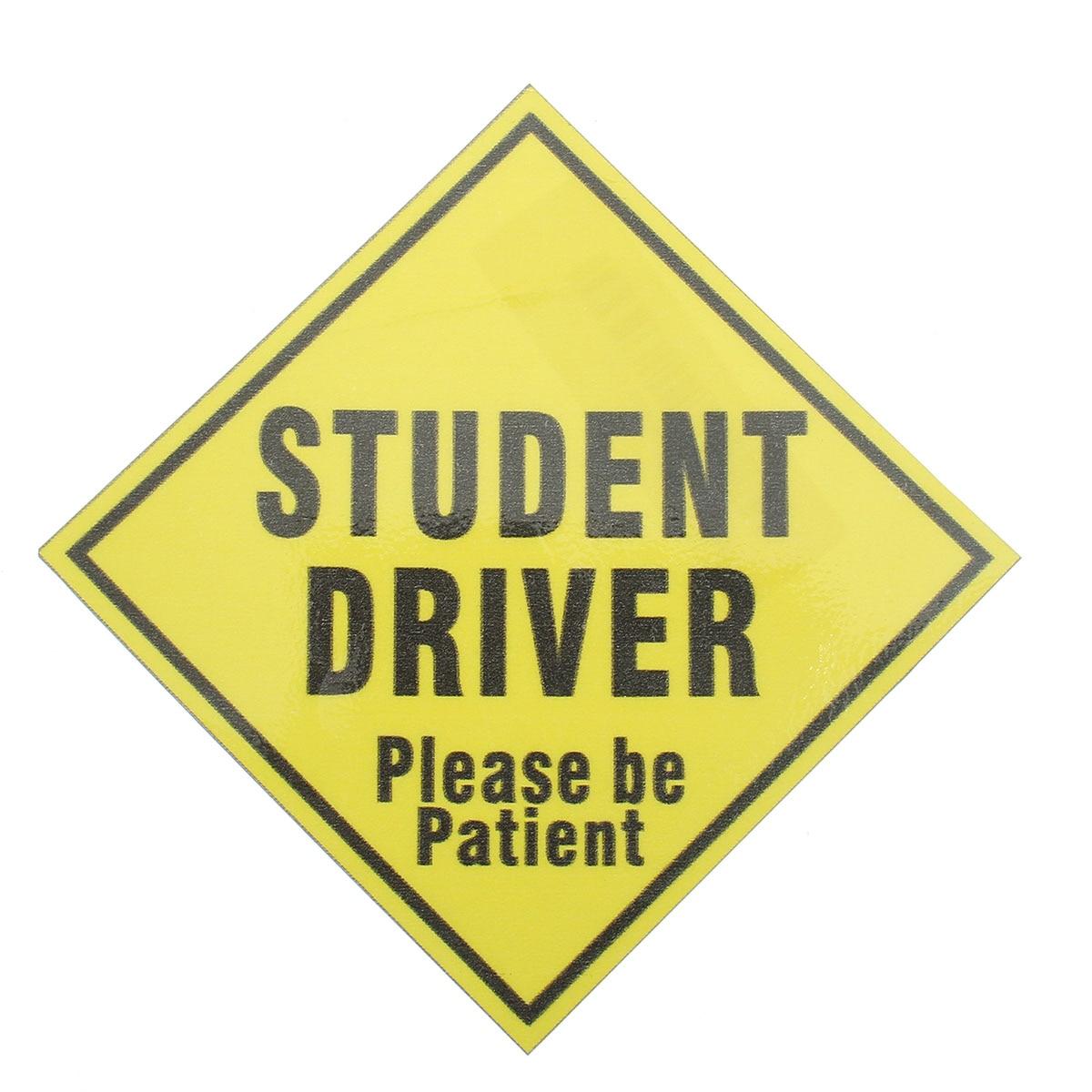 138cm X 138mm Student Driver Safety Vinyl Decal Sticker Label School Teen Yellow Waterproof Fade Resistant Scratch Resistant