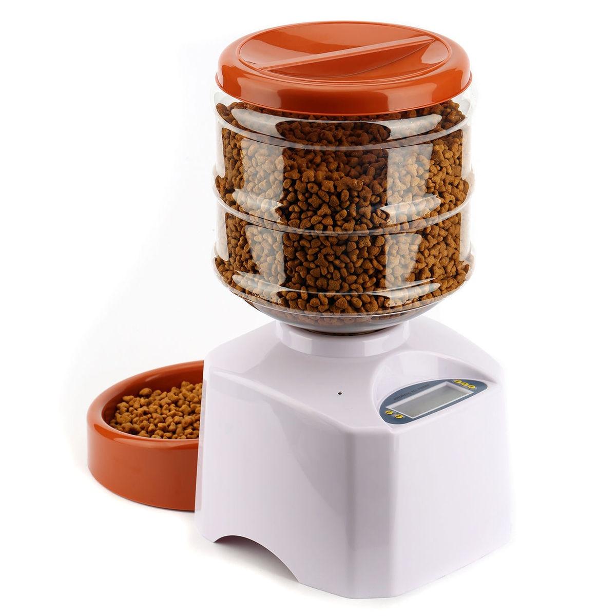 5.5L Programmé bol automatique pour animal de compagnie LED Écran D'affichage Intelligent Chien Chat Nourriture Bol Distributeur Pet dinner Machine CW117