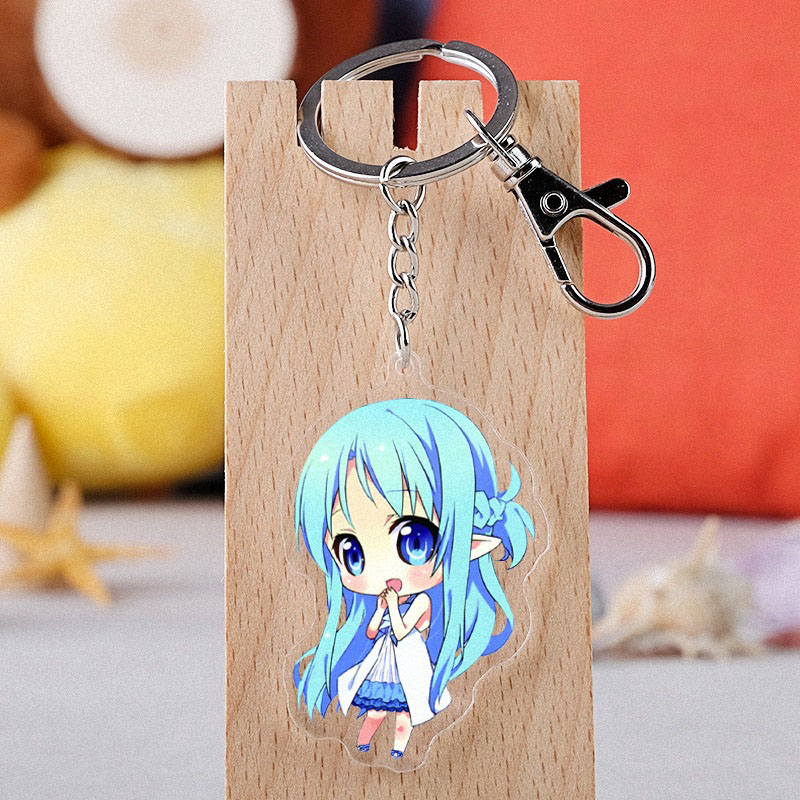 Anime Sword Art Online Cosplay Keychain Japanese Cartoon Double-sided Sinon Kirito Asuna Car Key Holder Chain Pendants Keyrings