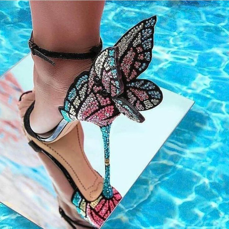 Handmade Multicolor Rhinestone Sandals Female Shoes Luxury Crystals Heel Butterfly Sandals High Heel Sandalia FemininaHandmade Multicolor Rhinestone Sandals Female Shoes Luxury Crystals Heel Butterfly Sandals High Heel Sandalia Feminina