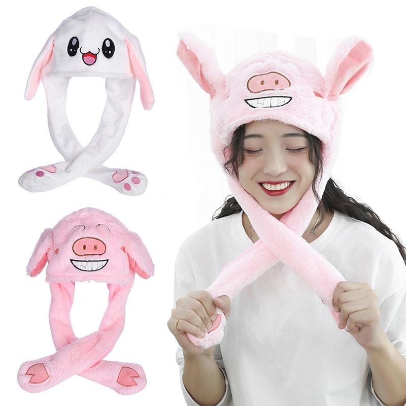 Cute Funny Plush Thermal Hat Caps With Movable Ear Shaped Rabbit Toy For Lady Grils High Quality Ear Movable Gift