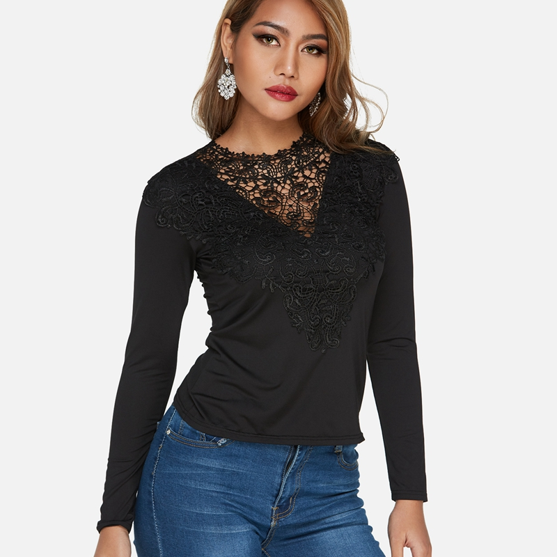 Patchwork Women Hollow Out Lace-up Blouse Shirts Sexy Crochet Lace V-neck Long Sleeves Tops Casual Slim Blusas Femininas Robe