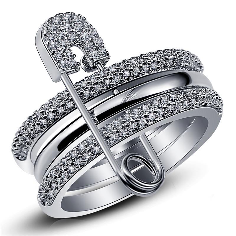 Bagues en argent large pour femmes avec broche cubique Zircon anneau pavé réglage femelle accessoire de fête ange Anillos Mujer Bague