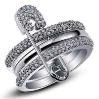 Conjunto de Anillos de dedo de plata ancha para Mujer con anillo de circonita cúbica bague